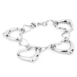 ELYA Stainless Steel Open Polished Heart Link Bracelet