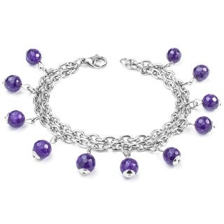 Elya Designs Stainless Steel Multi-Strand Natural Purple Agate Stone Bracelet