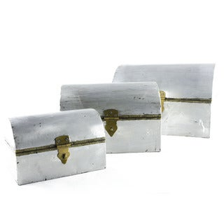 3-piece Nesting Aluminum Coated Wooden Boxes (India)