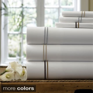 Double Line Embroidered Egyptian Cotton 300 Thread Count Sheet Sets and Pillowcase Separates