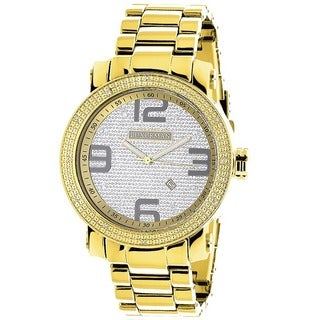 Luxurman Men's 1/10ct Yellow Goldplated Stainless Steel Watch