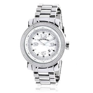 Luxurman Men's 'Iced Out' Diamond Stainless Steel Watch