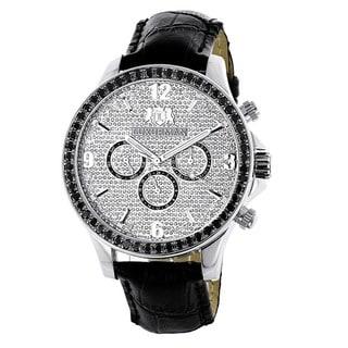 Luxurman Men's 3ct TDW Black Diamond Watch
