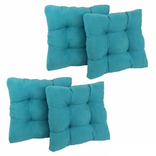 Blazing Needles 19-inch Square Tufted Microsuede Chair Cushions (Set of 4)