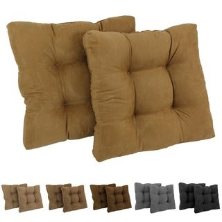 Blazing Needles 19-inch Square Tufted Microsuede Chair Cushions (Set of 2)