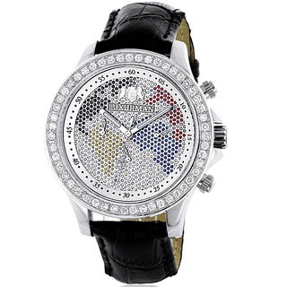 Luxurman Watches: Mens Word Map Diamond Watch 3ct