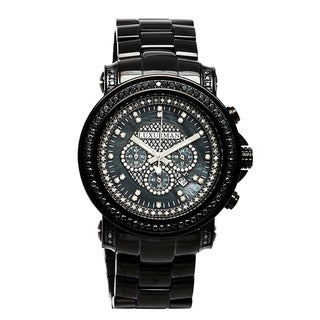 Luxurman Men's Black Diamond Watch Metal Band plus Extra Leather Straps
