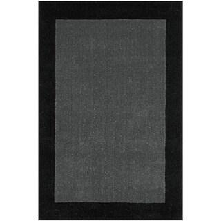 Hand-tufted Grey Border Pulse Wool Rug (5' x 8')