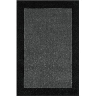 Hand-tufted Grey Border Pulse Wool Rug (5' x 8')