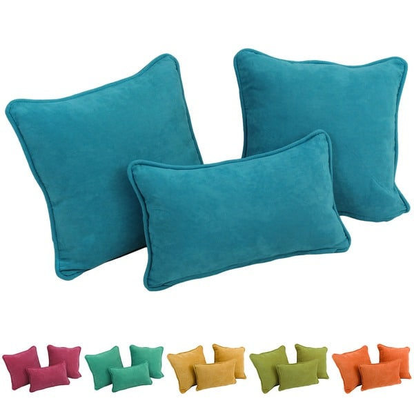 Blazing Needles Solid Tropical Microsuede Pillows (Set of 3)