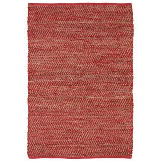 Hand Woven Red Jeans Denim & Hemp Rug (9 x 12')