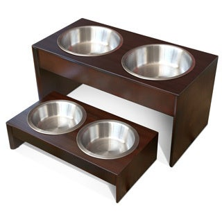 PetFusion Elevated Solid Pine Pet Bowl Holder