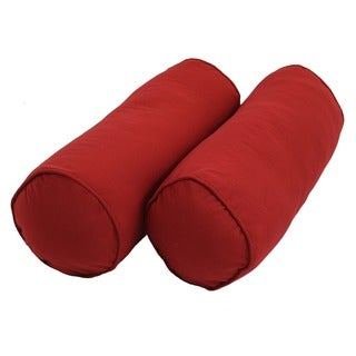 Blazing Needles Twill Bolster Pillows with Cording (Set of 2)