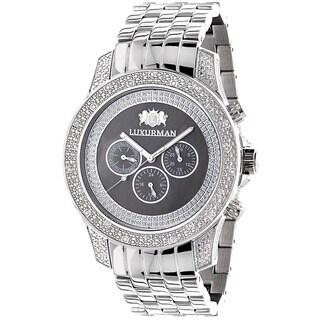 Luxurman Men's Diamond Mother of Pearl Watch