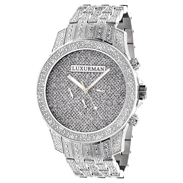 Luxurman Men's IH-203 1 1/4ct White Diamond Watch