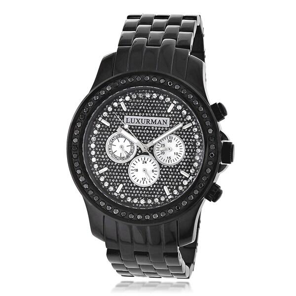 Luxurman Mens Black Diamond Watch 2.25ct