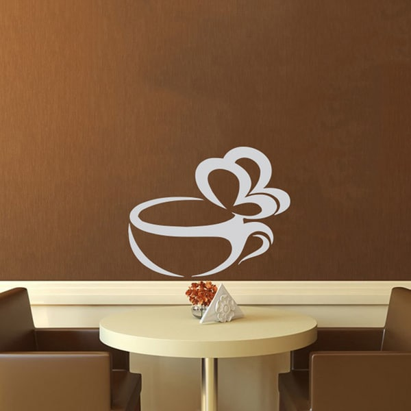 Steaming Butterfly Cup of Coffee Vinyl Wall Decal 12079628
