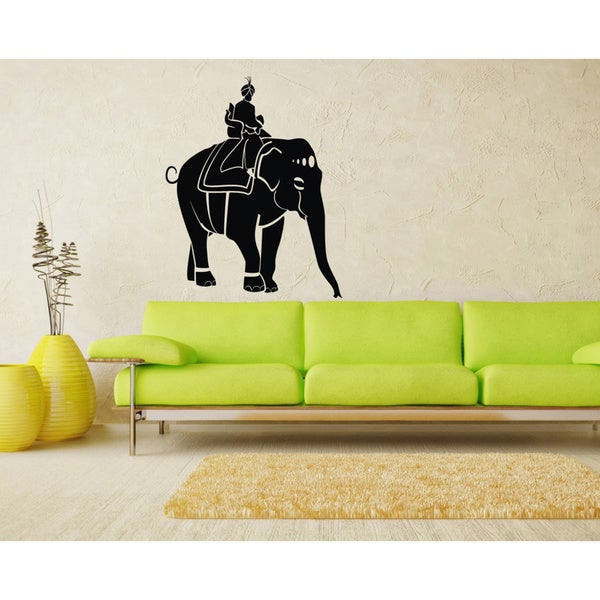 Man Riding an Indian Elephant Vinyl Wall Decal