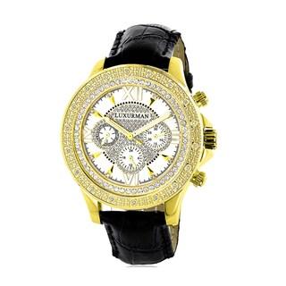 Luxurman Men's Diamond Black Watch