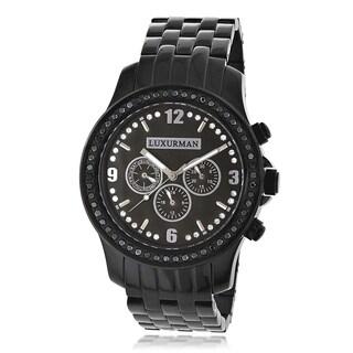 Luxurman Men's Black Diamond Stainless Steel Watch