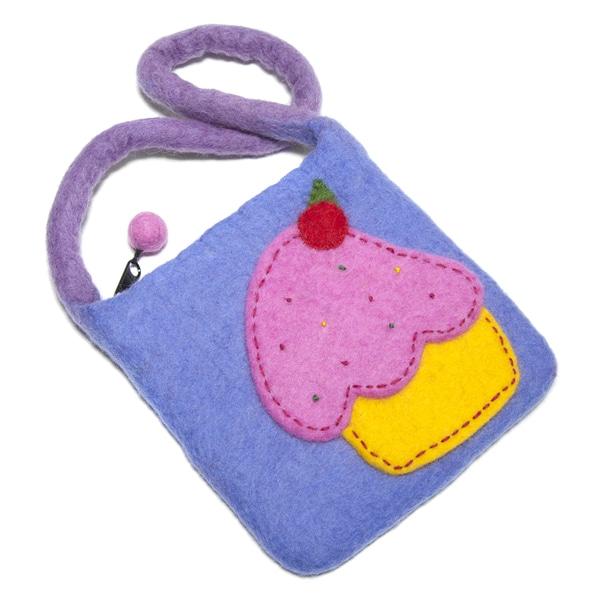 Handmade Children's Felted Wool Cupcake Bag (Nepal)