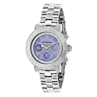 Luxurman Women's 1/3ct TDW White Diamond Blue Mother of Pearl Watch with Metal Band and Extra Leather Straps