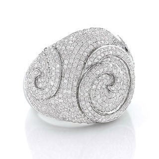 Sterling Silver 3 1/10ct TDW Men's Swirl Diamond Ring (H-I, I1-I2)