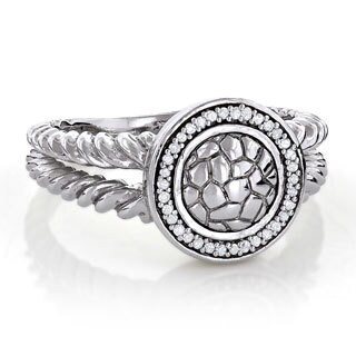 Textured Sterling Silver 1/8ct TDW Diamond Ring (H-I, I1-I2)