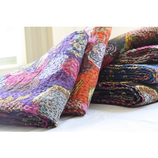 Handmade Quilted Kantha Throw Blanket (India)