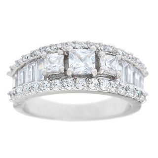 Simon Frank Silvertone 3-stone Baguette Cubic Zirconia Ring