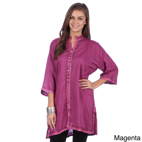 Hand-Embroidered Women's Tunic Caftan (Morocco)