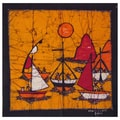 Hand-batiked 'Fishing at Sunrise' Wall Hanging (Mozambique)