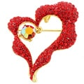 Heart Pin Crystal Fashion Pin Brooch and Pendant