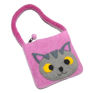 Handmade Children's Felt Wool Kitty Bag (Nepal)