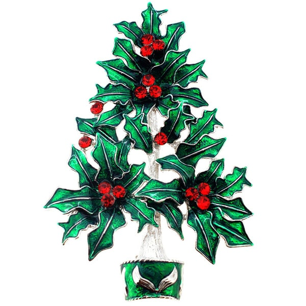 Ruby Christmas Tree Pin Christmas Pin Brooch