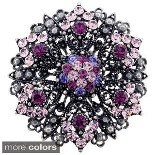 Amethyst Purple Flower Wedding Pin Brooch and Pendant