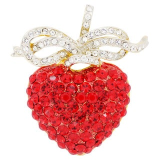Hyacinth Heart Crystal Bow Pin Crystal Fashion Pin Brooch and Pendant