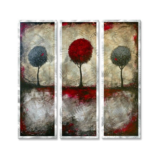 Brittney Hallowell 'The Beckoning of Red's Forest' Metal Art 3-panel Set