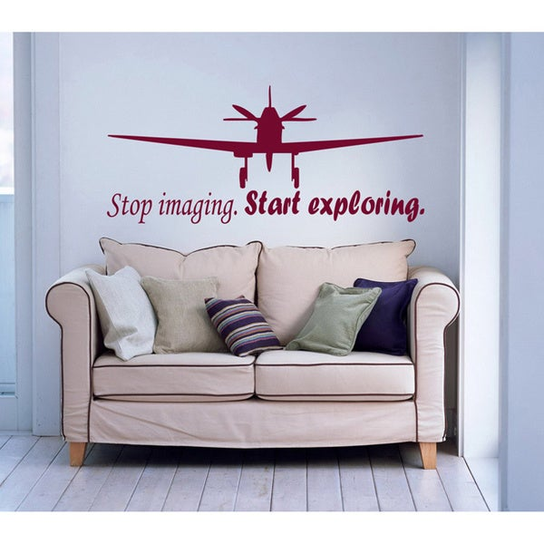 'Stop imagining. Start exploring.' Vinyl Wall Decal