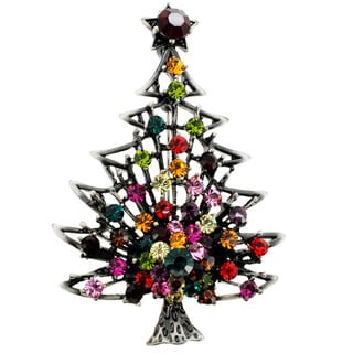 Enamel Christmas Tree Pin Crystal Christmas Pin Brooche and Pendant