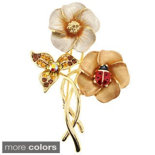 Topaz Hawaiian Hibiscus With Red Ladybug Pin with Crystal Pin Brooch