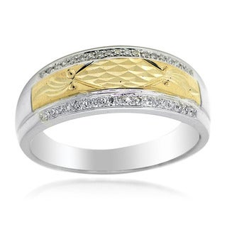 De Buman 14k Two-tone Gold 1/6ct TDW Diamond Men's Band Ring (H-I, I1-I2)