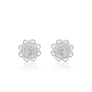 Collette Z Sterling Silver Cubic Zirconia Flower Lace Earrings