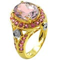 De Buman 14k Yellow Gold Pink Tourmaline and 1/4ct TDW Diamond Ring (H-I, I1-I2)