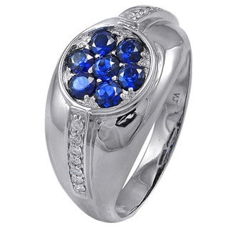 De Buman 14K White Gold Sapphire and 1/6ct TDW Diamond Ring (H-I, I1-I2)
