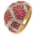 De Buman 14K Yellow Gold Genuine Ruby and 4/5ct TDW Diamond Ring (H-I, I1-I2)
