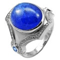 De Buman 14K White Gold Genuine Tanzanite and 1/4ct TDW Diamond Ring (H-I, I1-I2)