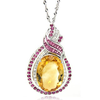 De Buman 14K White Gold Genuine Citrine and 1/2ct TDW Diamond Necklace (H-I, I1-I2)