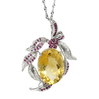 De Buman 14K White Gold Genuine Citrine and 1/4ct TDW Diamond Necklace (H-I, I1-I2)
