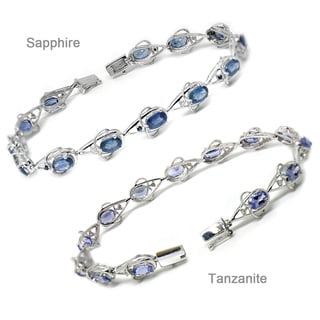De Buman 14K White Gold Gemstone and Diamond Accent Bracelet